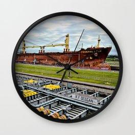 Freighters in Soo Locks Wall Clock