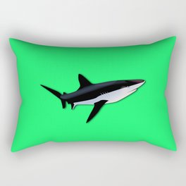 Great White Shark  on Acid Green Fluorescent Background Rectangular Pillow