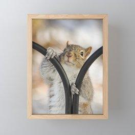 Make Some Mischief snowy winter gray squirrel Framed Mini Art Print