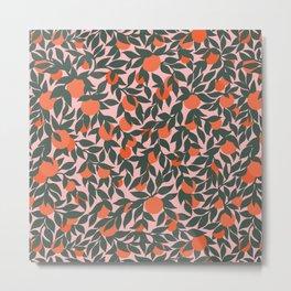 Oranges and Leaves Pattern - Pink Metal Print
