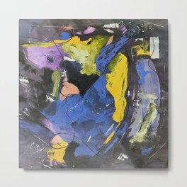 Dancing The Night Away Blue Black Yellow Abstract Metal Print