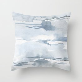 Pastel blue gray abstract watercolor brushstrokes stripes pattern Throw Pillow