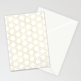 White and Gold Honeycomb Stationery Cards