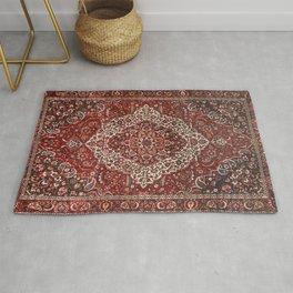 Persian Bakhtiari Old Century Authentic Colorful Deep Dark Red Tan Vintage Patterns Rug