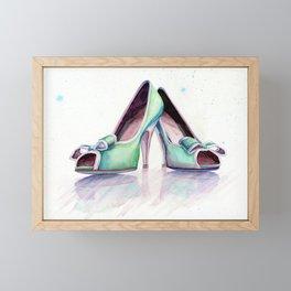 watercolor shoes Framed Mini Art Print