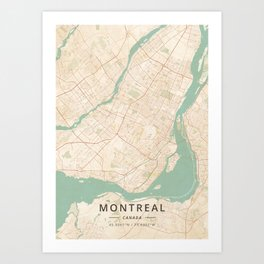 Montreal, Canada - Vintage Map Art Print