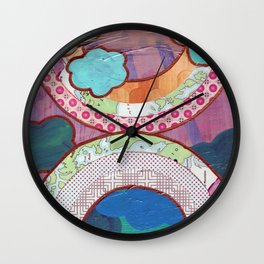 double rainbow map collage Wall Clock