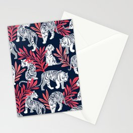 Nouveau white tigers // navy blue background red leaves silver lines white animals Stationery Cards