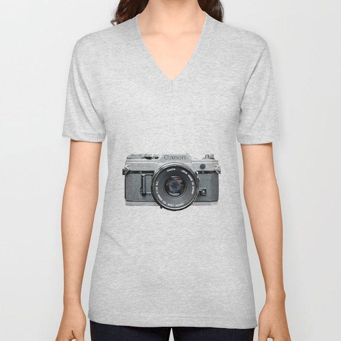 Vintage Camera Phone Unisex V-Neck