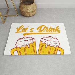 """""""Fuck It Let's Drink"""" Drunkard Drunk Beer Shirt For Alcoholic T-shirt Design Alcohol Wasted Partying Rug"""