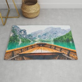Boat in the lake watercolor painting  Rug