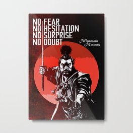 Musashi Samurai - No fear... Metal Print