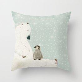 penguin and bear Throw Pillow