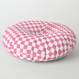 Small Diamonds - White and Dark Pink Floor Pillow