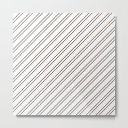 Brown Diagonal Stripes Metal Print