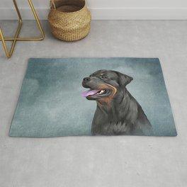 Drawing dog rottweiler Rug