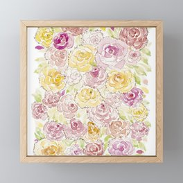 Faded Roses - Watercolor Framed Mini Art Print