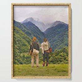 Young Backpackers at Top of Mountain, Banos, Ecuador Serving Tray