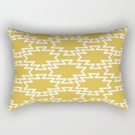 Southwest Azteca - Geometric Pattern in White and Light Mustard Rectangular Pillow