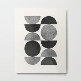 Black grey retro Mid century modern Metal Print