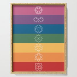 Seven Chakra Mandalas on a Striped Rainbow Color Background Serving Tray