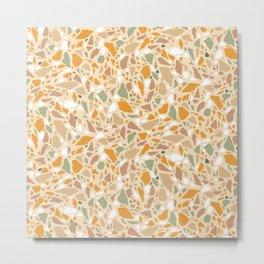 Terrazzo pattern in ochre and green Metal Print