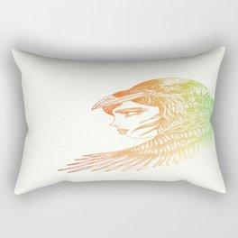 Raven Girl Rainbow Rectangular Pillow