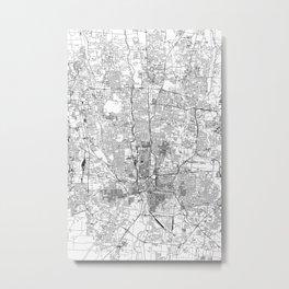 Columbus White Map Metal Print