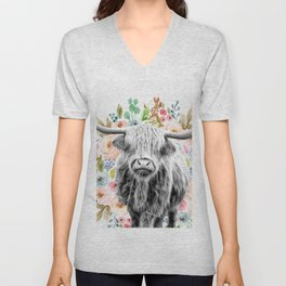 Cutest Highland Cow With Flowers Unisex V-Neck