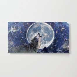 A One Wolf Moon Metal Print