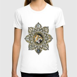 Black and Gold Roaring Tiger Mandala With 8 Cat Eyes T-shirt