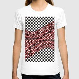 black white red T-shirt