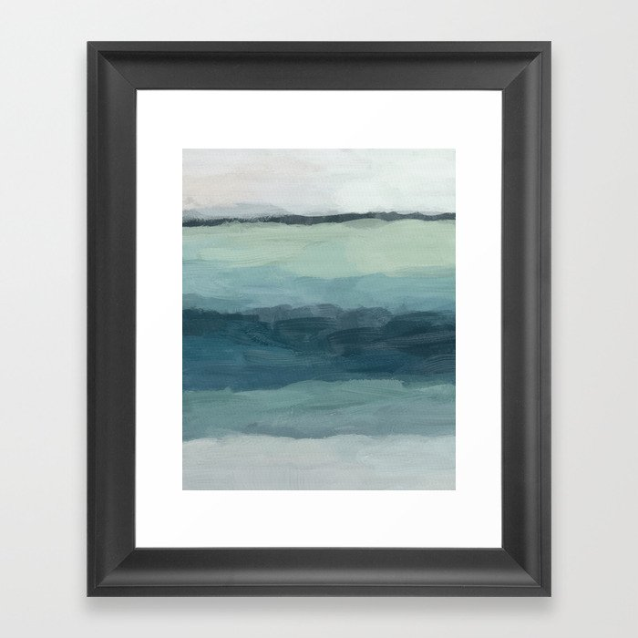 Seafoam Green Mint Navy Blue Abstract Ocean Art Painting Gerahmter Kunstdruck