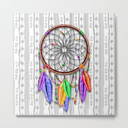 Dreamcatcher Rainbow Feathers Metal Print
