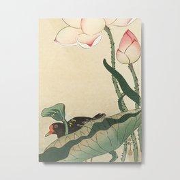 Ohara Koson, Bird Behind Lotus Flower - Vintage Japanese Woodblock Print Metal Print