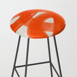 Mid Century Modern Abstract Painting Orange Watercolor Brush Strokes Bar Stool