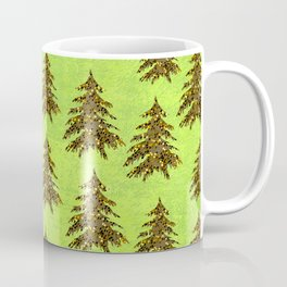 Sparkly Gold Christmas tree on abstract green paper Coffee Mug