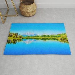 Lake reflections watercolor painting #1 Rug