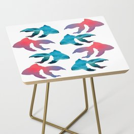 Pattern Oil Painting Abstract Tropical Fish Side Table