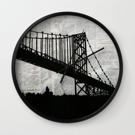 News Feed , Newspaper Bridge Collage Wall Clock