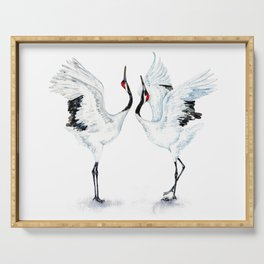 Dancing Japanese Red-crowned crane Serving Tray
