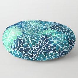 Space Dahlias Midnight Blue Teal Floor Pillow