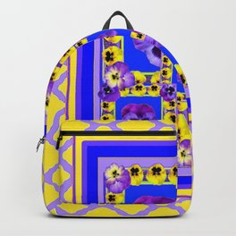 MODERN PURPLE-YELLOW PANSY GARDEN  ABSTRACT ART Backpack