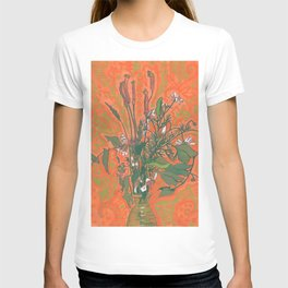 Green & Orange, Summer Wildflowers, Floral Painting T-shirt