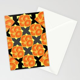 CONTEMPORARY SUCCULENT  ORANGES BLACK-GREY ART DESIGN Stationery Cards