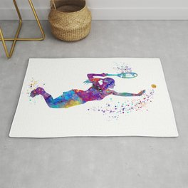 Girl Tennis Watercolor Art Print Sports Nursery Home Decor Kids Room Sports Painting Gifts Rug