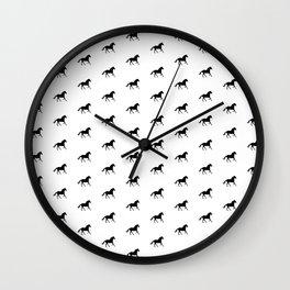 Horse Running 2 Pattern Black On White Wall Clock