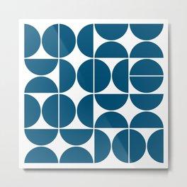 Mid Century Modern Geometric 04 Blue Metal Print