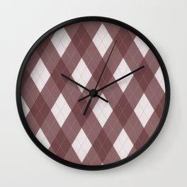 Pantone Red Pear Argyle Plaid Diamond Pattern Wall Clock