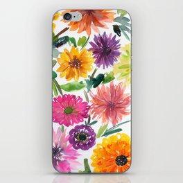 dahlias and chrysanthemums iPhone Skin